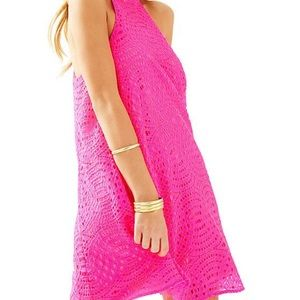 Lily Pulitzer pink lace halter top dress, S